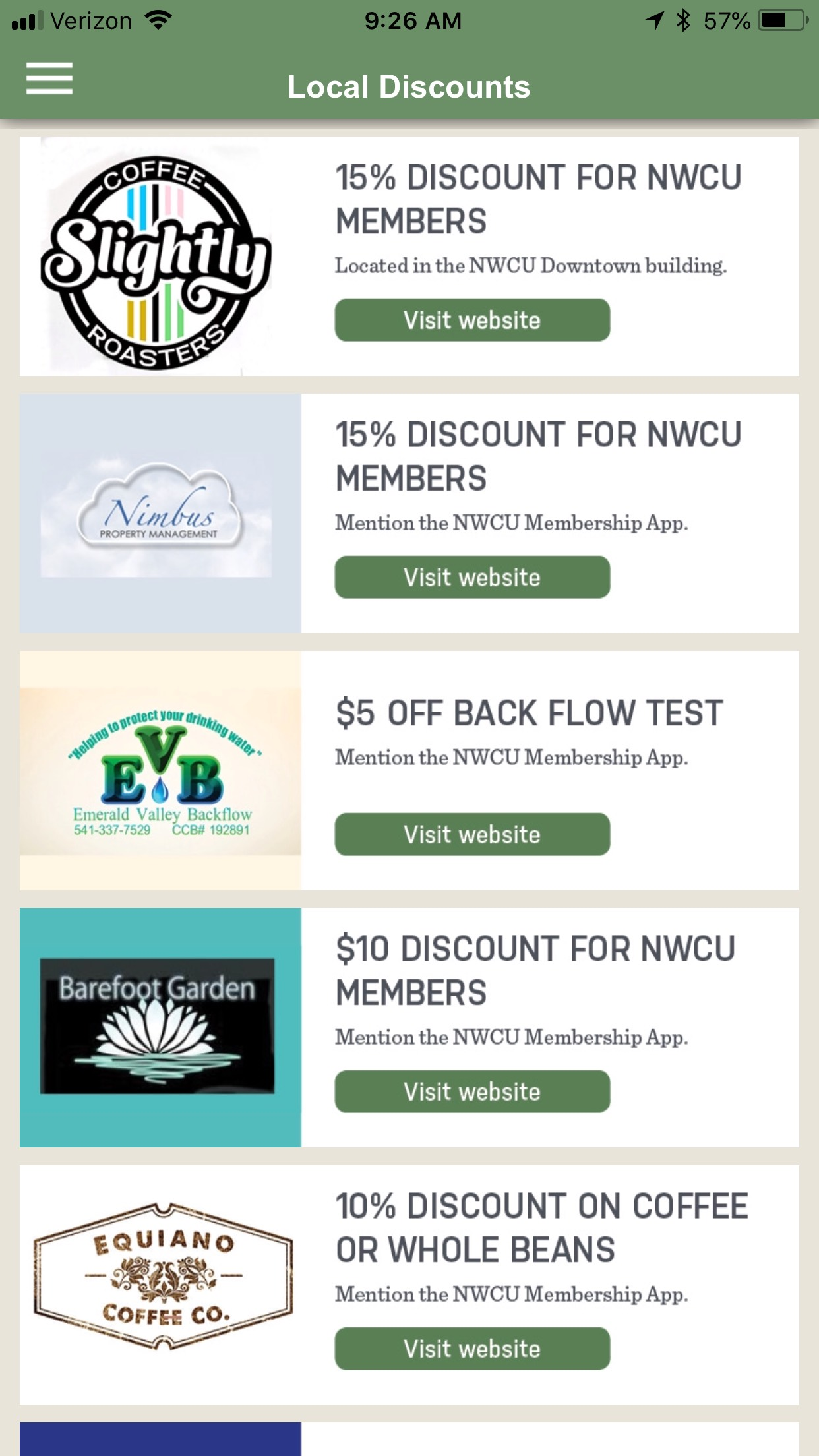 NWCU Member benefits app Local Discounts page