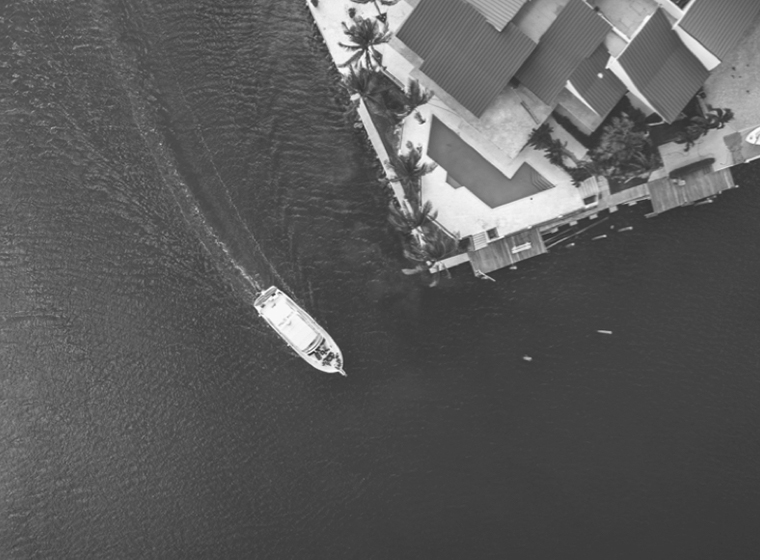 A bird's eye view looking down at a boat