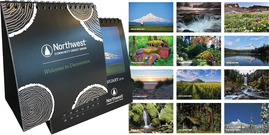 Images of the winning photographs and the calendar front and back.