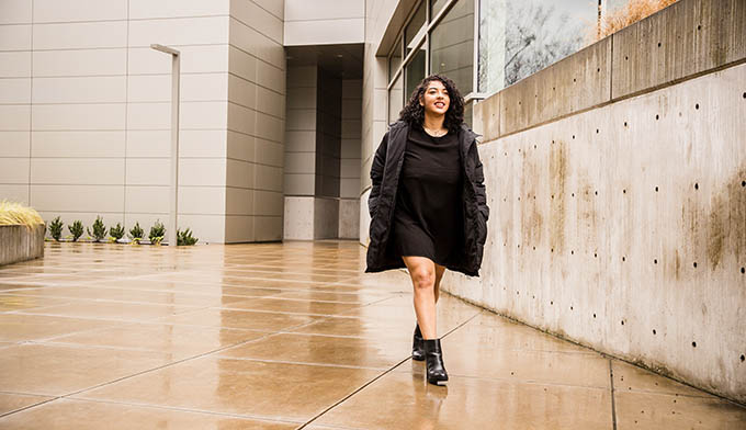 Ayasha Thurman on the University of Oregon campus