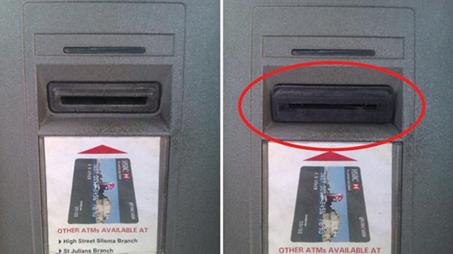 Before and After skimmer on ATM card slot