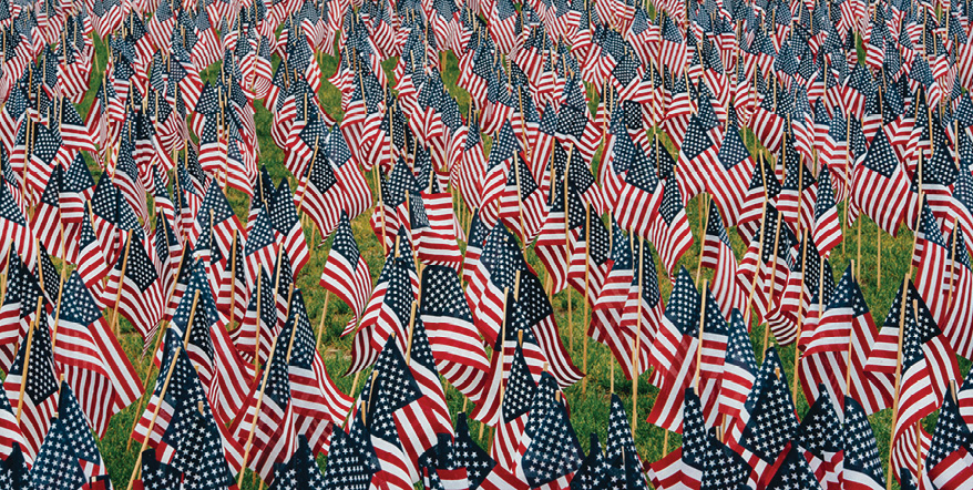 Thousands of little American flags planted on grass.