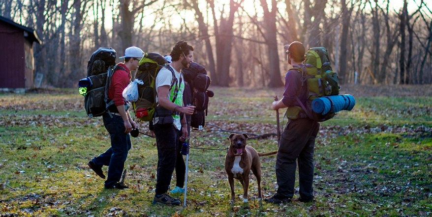 Image of male backpackers in the forest with a dog.