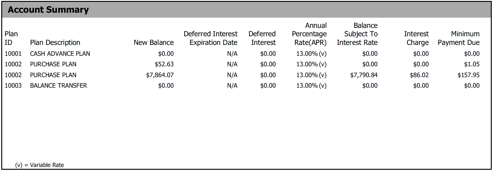 Image of Account Summary portion on NWCU credit card statement
