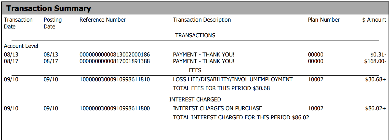 Image of Transaction Summary on NWCU credit card statement
