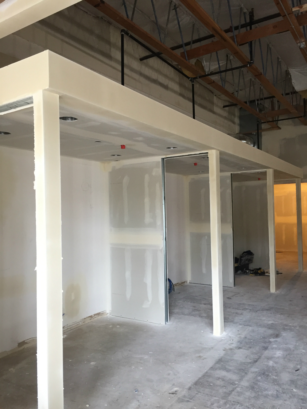Interior construction in new Portland branch location