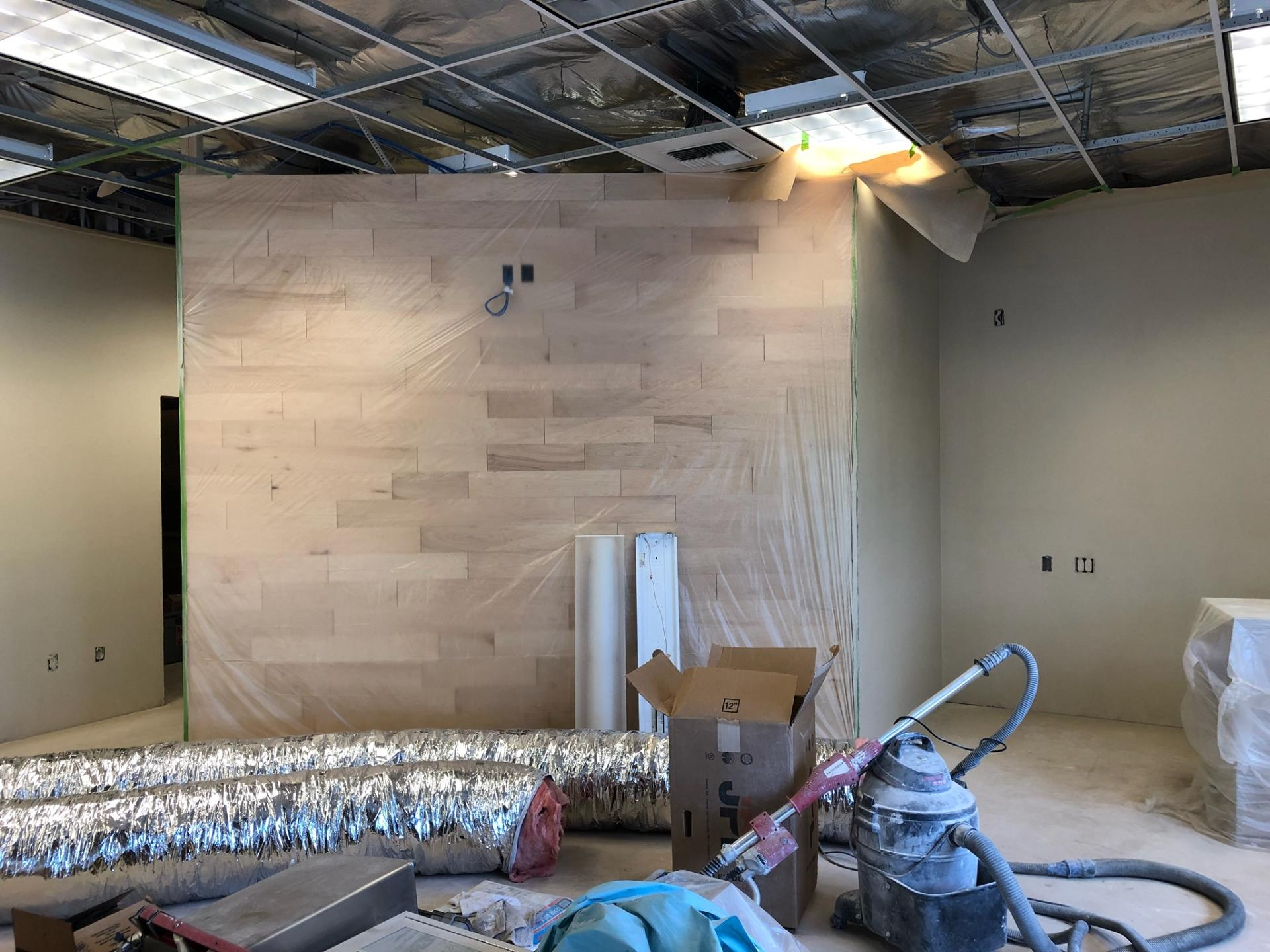 Interior wood wall in Green district branch