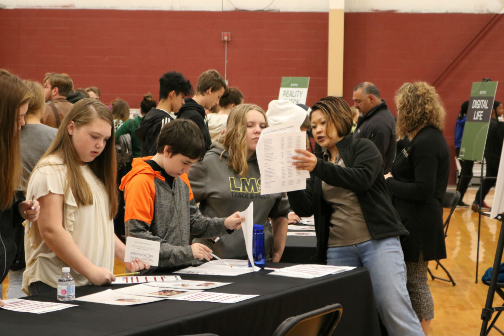 Middle school students learning about finances at the Career Exploration Expo