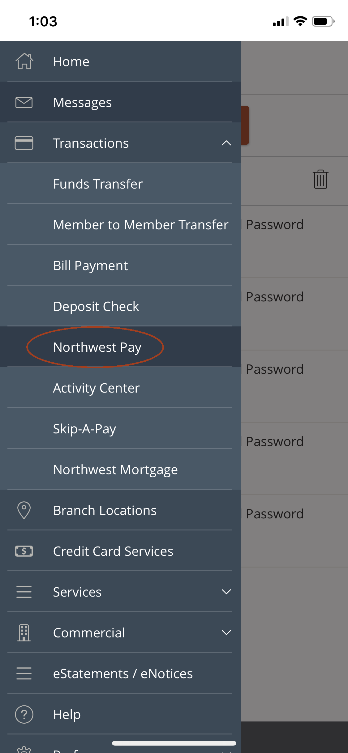 Northwest Pay location in the online banking menu