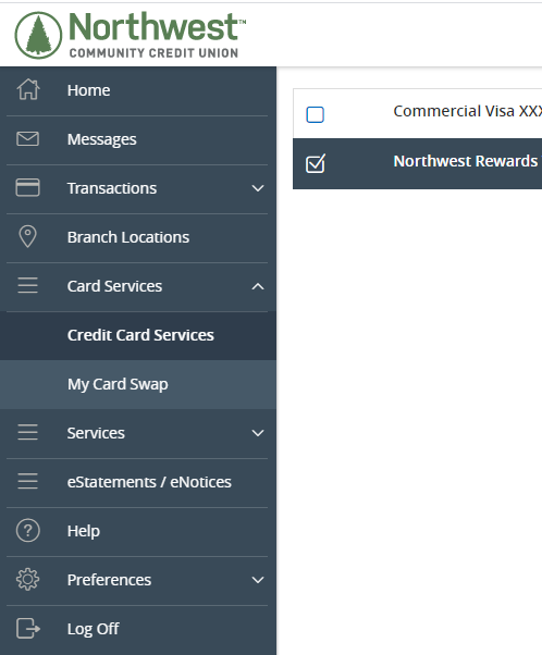 Credit Card Services menu