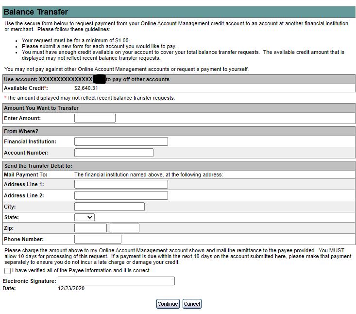 Credit Card Balance Transfer Form in eBanking