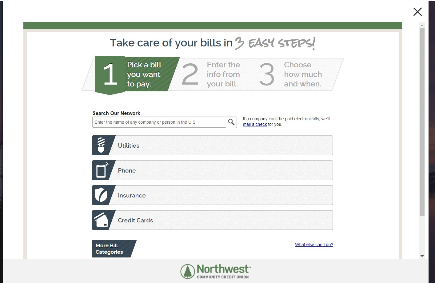 Bill pay home page