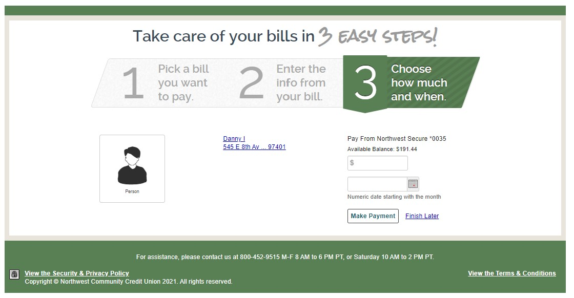 Setting up payment for a new bill